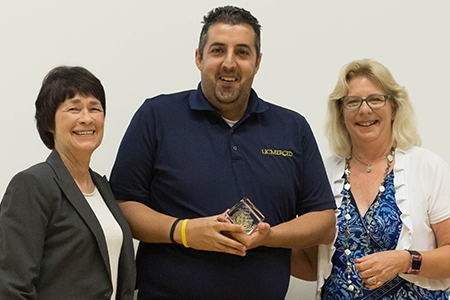 UC Merced Chancellor Dorothy Leland, left, pictured Staff Excellence Award recipient Mort Peyvandi and Staff Assembly President Pam Taylor